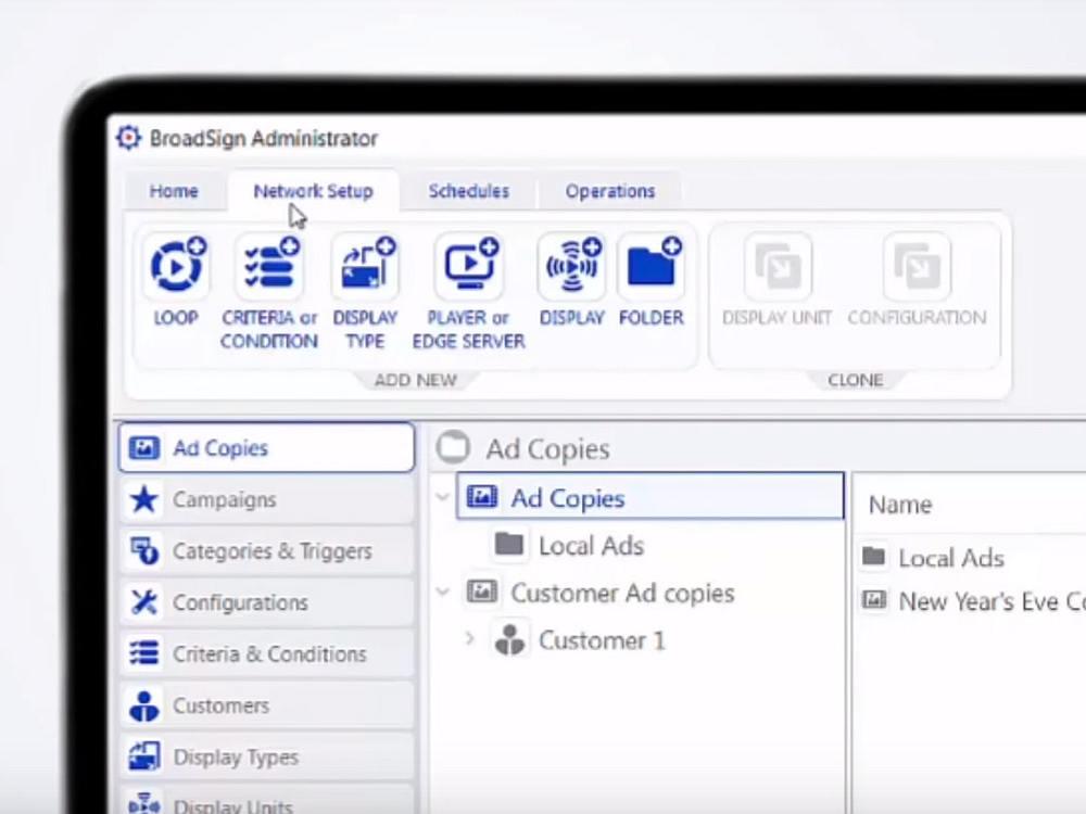 Benutzeroberfläche von Broadsigns Administrator (Screenshot: invidis)