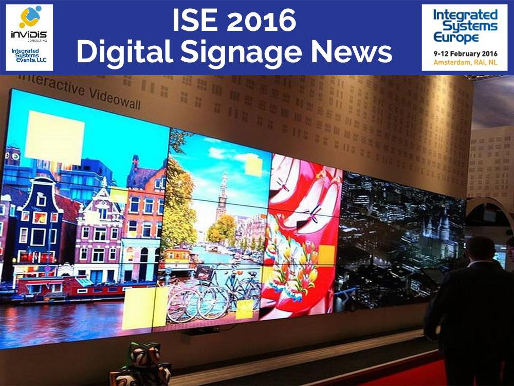 Interaktive Video Wall am NEC Stand auf der ISE 2015 (Foto: NEC; Grafik/ Montage: invidis)