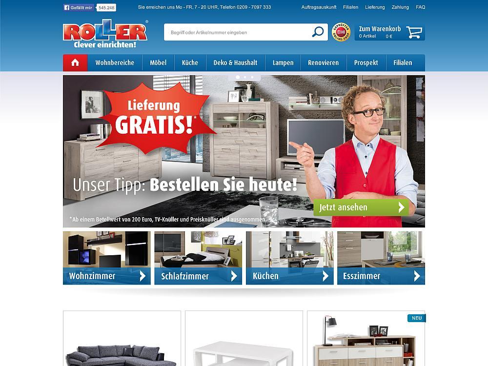 Relaunch mit Omnichannel Software von Hybris - Blick auf die neue Website von Roller (Screenshot: Publicis Pixelpark)