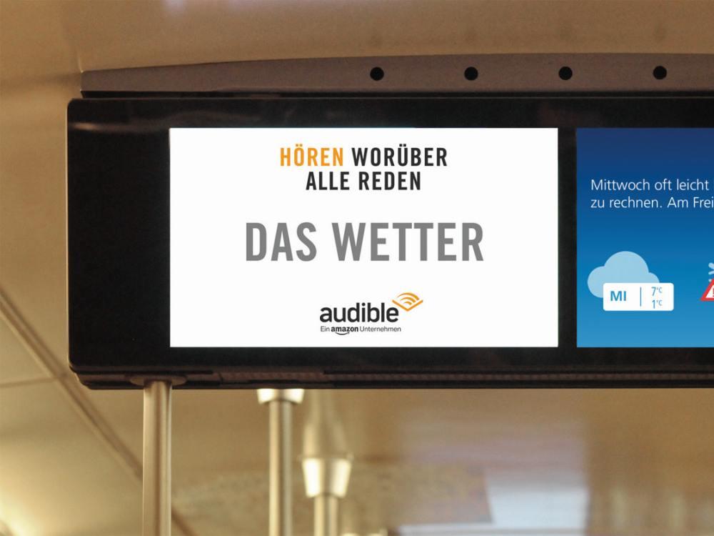 Screen aus dem mcR&D Fenster Netzwerk mit Inhalten von Wetter-Sponsor Audible (Foto: mcR&D)