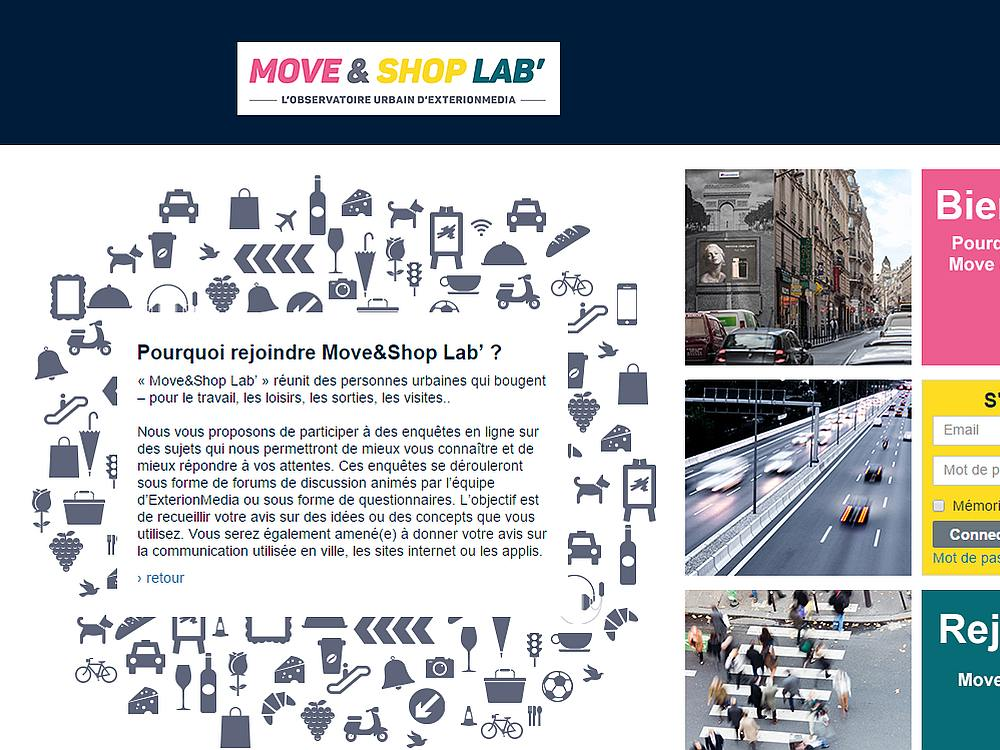 Startseite des Move&Shop Lab (Screenshot: invidis)