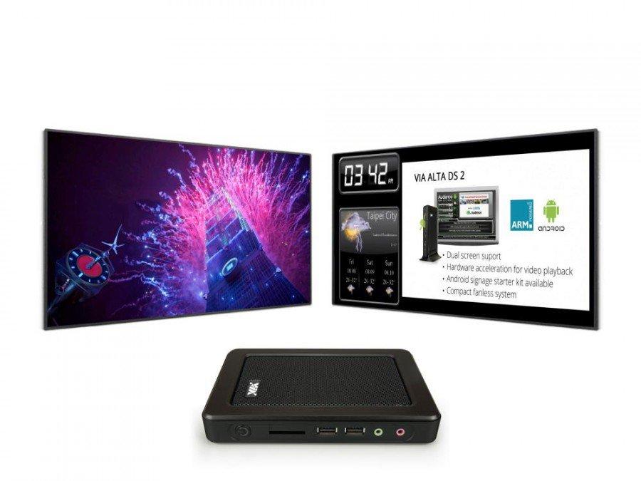 VIA Alta DS 2 und Digital Signage Displays (Foto: VIA Technologies)
