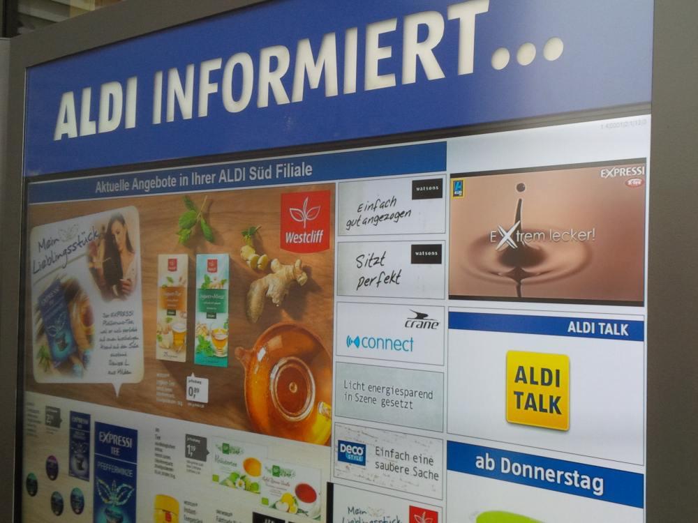 Aldi Fililae in Kirchseeon - High Brightness Screen im Außenbereich (Foto: invidis)