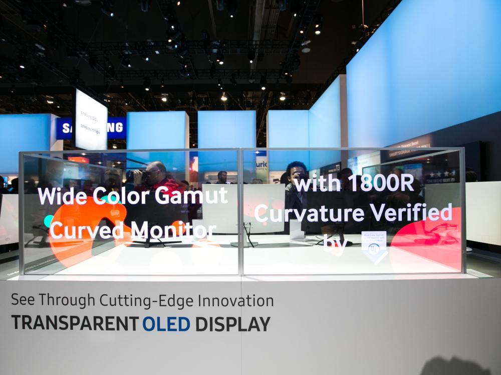 Durchblick - transparente OLED Screens von Samsung auf der CES 2016 (Foto: Samsung)