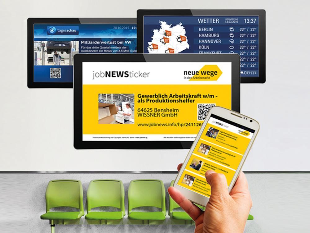 Mit Oxygen werden Screens zum interaktiven Tool für Stellensuchende (Foto: DOOH media)