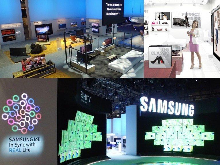 Samsung Stand auf der CES 2016 und Retail Szenario (Fotos: Samsung Montage: invidis)