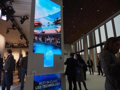 Im Erdgeschoss sind die aktuellen Screens zu sehen - ein Stockwerk höher erlaubt Samsung einen Blick in die Zukunft (Foto: invidis)