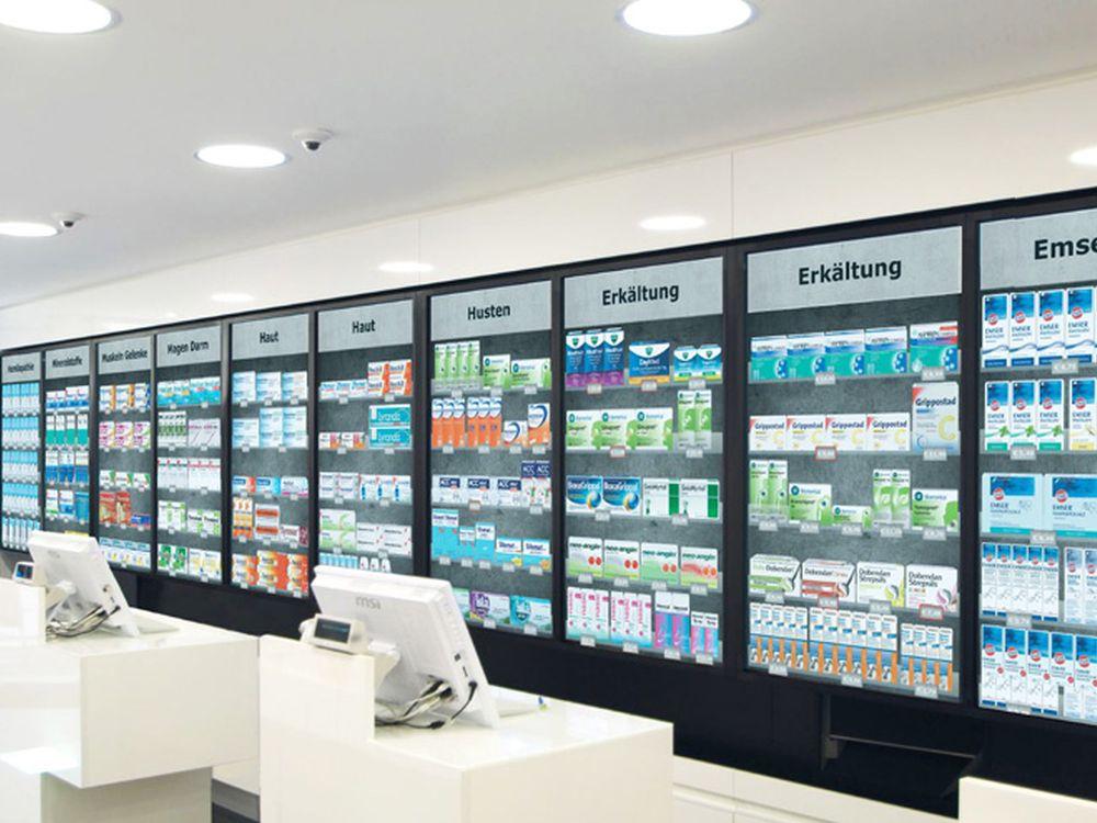 Mit eyefactive Software umgesetzte Lösung von Optimum Media für Apotheken (Foto: Optimum Media)