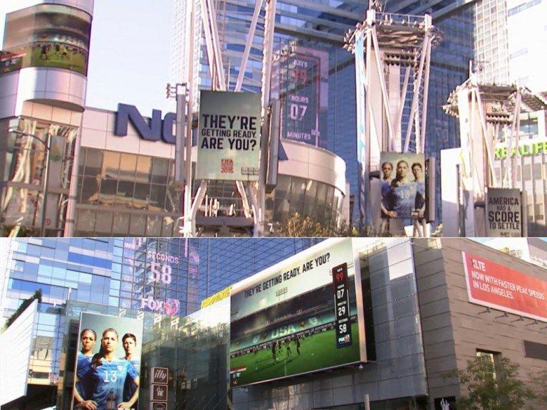 Neben dynamischen Inhalten sorgten auch die Spiegelungen an den Fassaden dafür, dass die Message auf den Screens weithin sichtbar waren (Fotos: Scala; Montage: invidis)