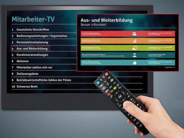 Nur eine der Anwendungen von PRESTIGEenterprise - Mitarbeiter-TV (Foto: Online Software AG)