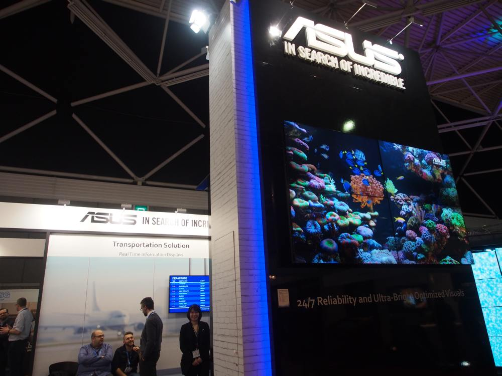 ISE 2016 - Video Wall Screens am Stand von Asus (Foto: invidis)