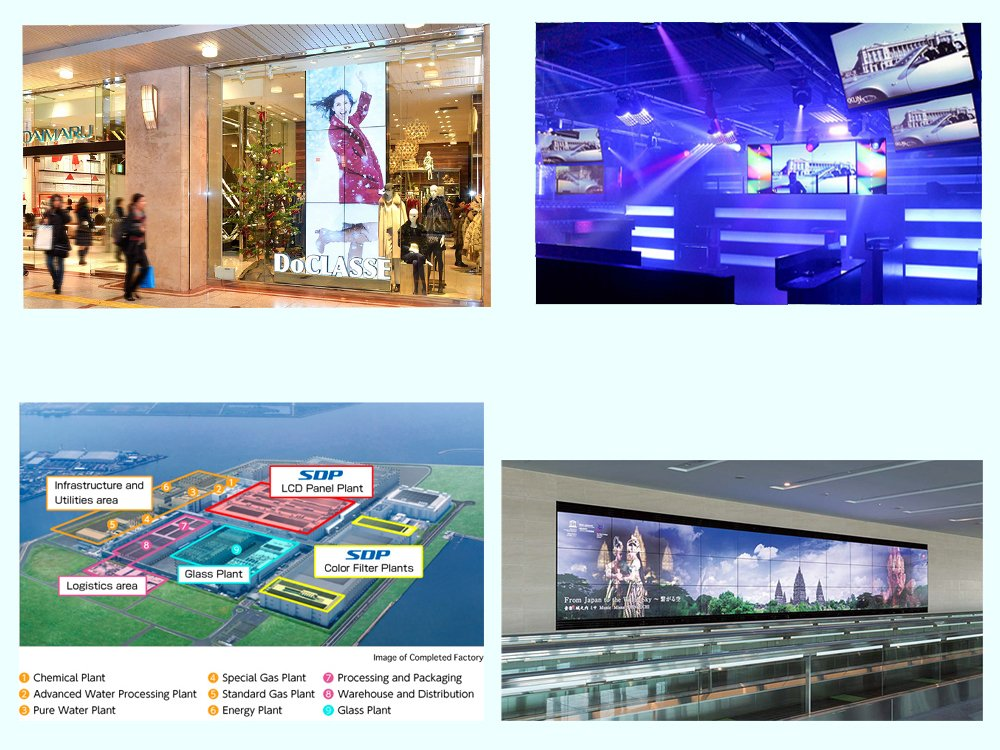 V.l.n.r.: Video Wall Screens in einer Mall in Tokio, in einem Club in Osaka und am Airport in Tokio - links unten die SDP Plant (Fotos / Grafik: Sharp)
