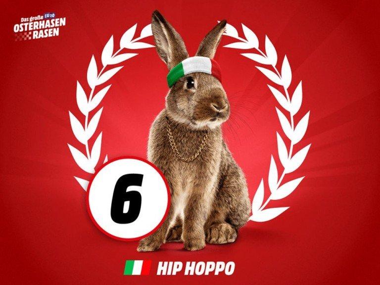 Ging als erster durchs Ziel - italienischer Renn-Hase Hip Hoppo (Foto: Media Markt)