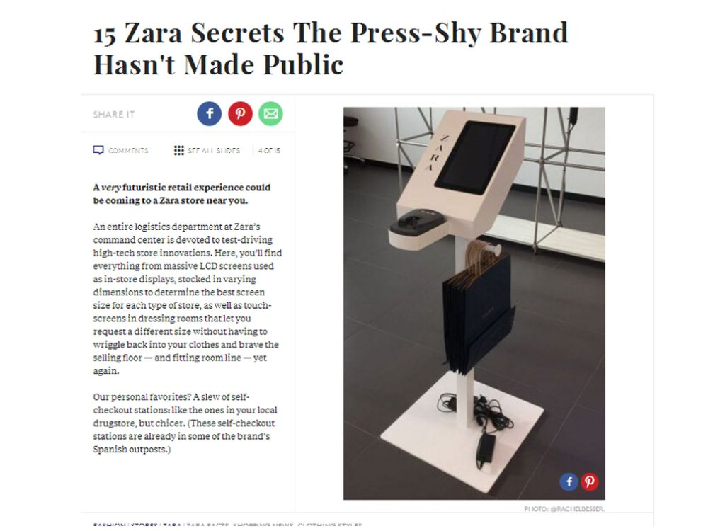 Im Inditex Labor - Self Service Modul für Zara (Screenshot: invidis)