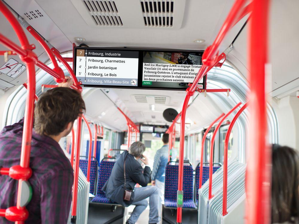 Programm von passengertv auf Screens in einer Tram (Foto: passengertv)