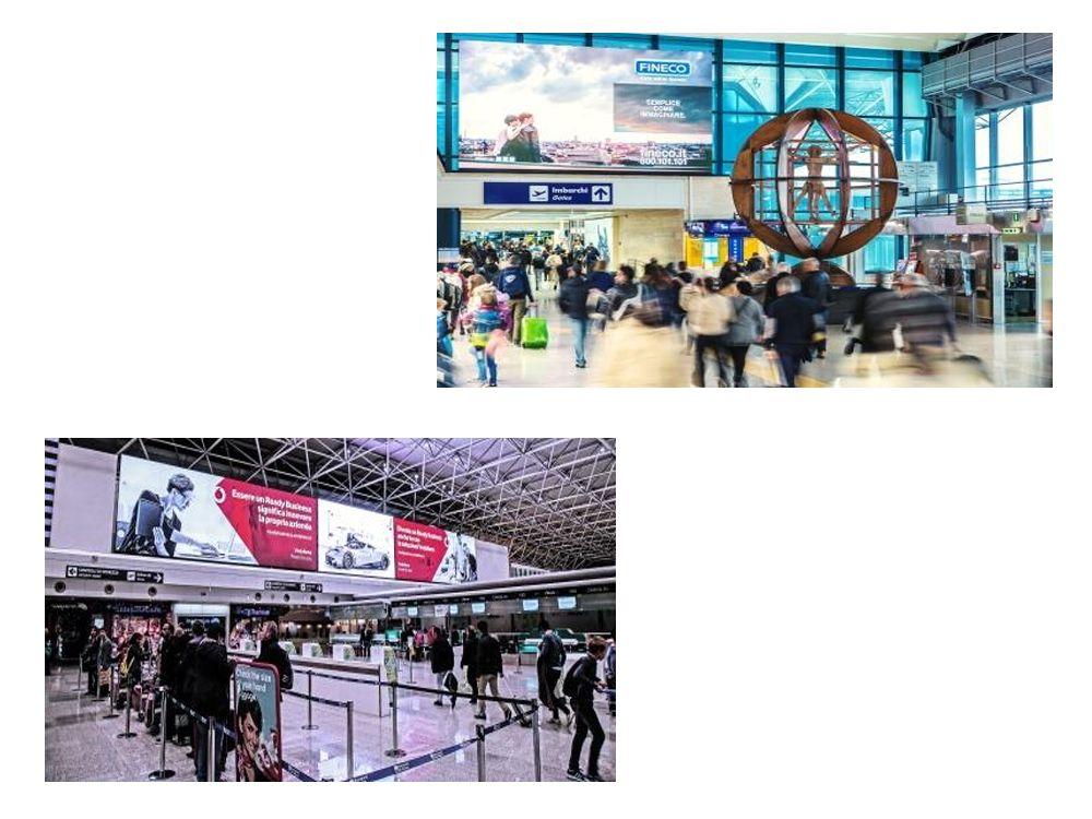 Verschiedene LED Screens am Flughafen in Rom - links unten am T3 Check In-Bereich (Fotos: Absen)