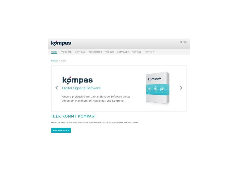 Zum neuen Release kompas 8 wurde auch die Website erneuert (Screenshot: dimedis)