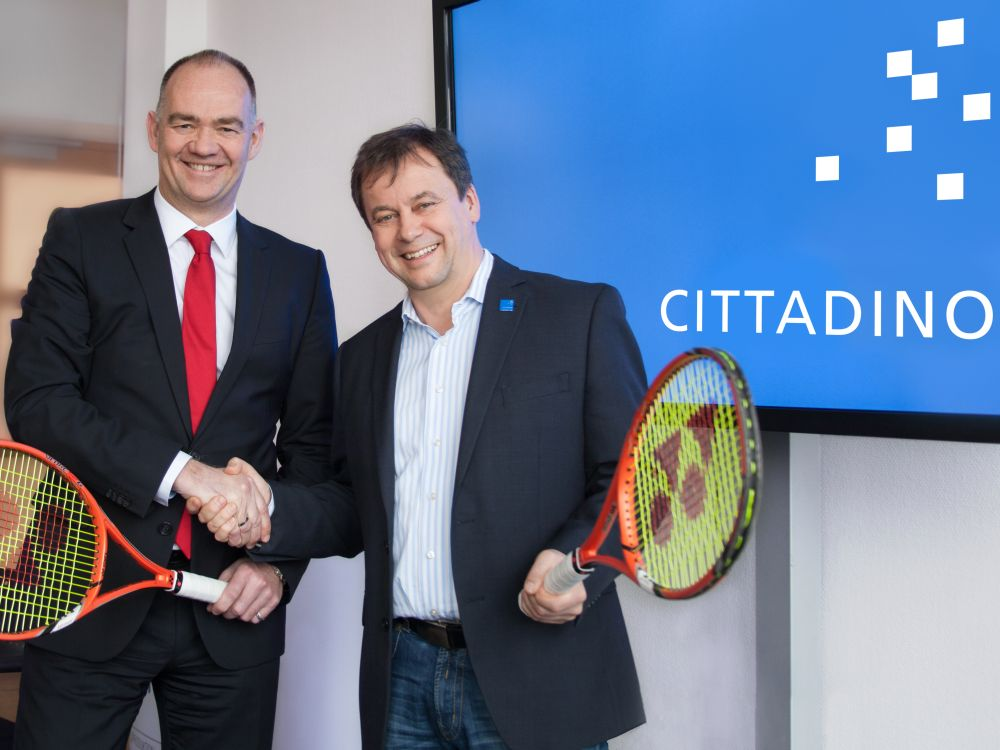 Aufschlag zur neuen Partnerschaft - Turnierveranstalter Marc Raffel und Franz Josef Medam (Foto: Cittadino)