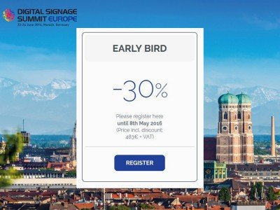 Countdown für Early Bird Tickets zum Digital Signage Summit Europe 2016 (Bild: invidis)
