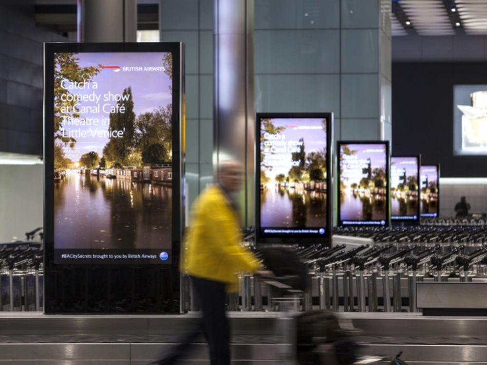 DooH Screens at Heathrow Airport London (image: JCDecaux)