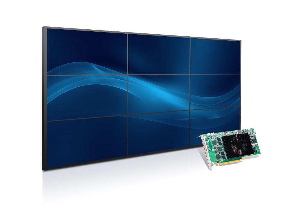 Matrox C900 SingleSlot Karte in einem Steckplatz steuert neun Screens für 3x3 Video Walls an (Foto: Matrox)