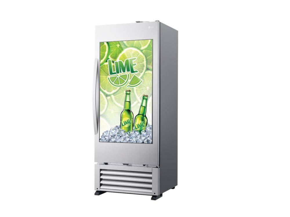 Transparenter Screen bietet Möglichkeiten zur Kundenansprache, Cooler kühlt die Getränke (Foto: LG)