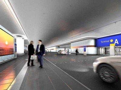 Ankunft Terminal A am Airport Frankfurt - geplante Video Wall (Foto/ Rendering: Media Frankfurt)