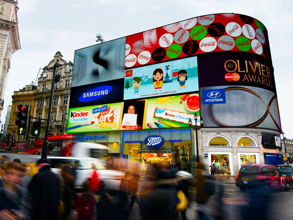 "DooH Kampagne ""Chocol'art"" auf Screens des Netzwerks Storm (Foto: Clear Channel UK)"