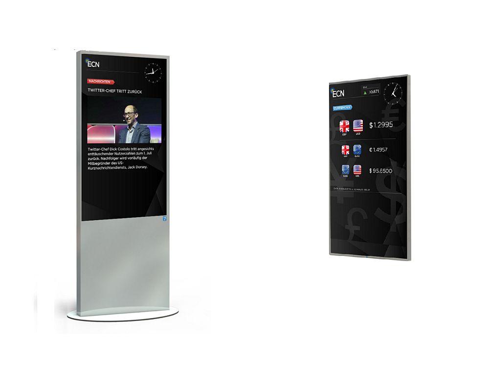 ECN Screens als Stele und als Modell für die Wandmontage (Fotos: ECN)