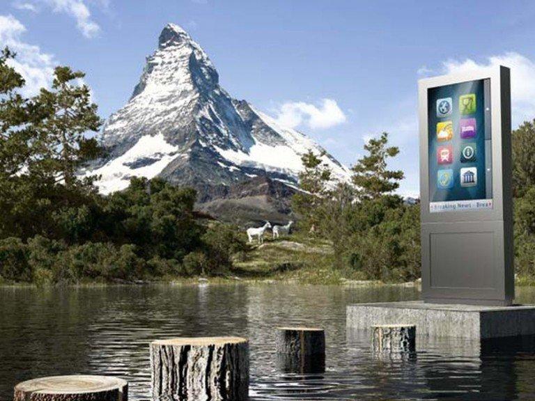 Kiosksystem Foris - Variante Stand Alu im Portraitmodus (Foto / Rendering: VDF Signage)