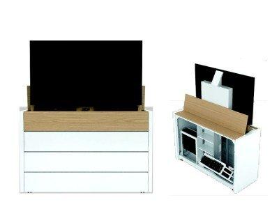 Vorderansicht und verkleinerte Rückansicht des neuen 65 Zoll Media Slides (Fotos: HKS Systemtechnik)