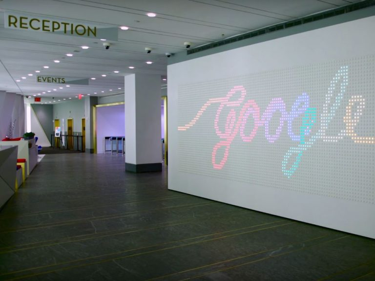 AnyPixel Video Wall bei Google in New York (Screenshot: invidis)