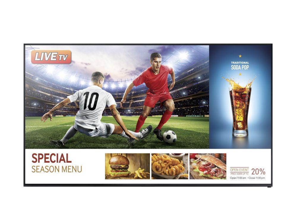 Die RHE SMART Signage TVs kombinieren reguläres TV mit Werbe-Inhalten (Foto: Samsung)