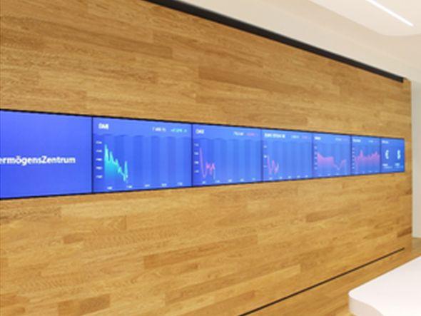 Digital Signage System beim VZ Vermögenszentrum (Foto: Littlebit Technology)