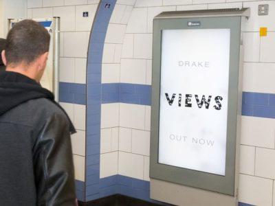 DooH Kampagne für das Drake Album Views from the 6 in der Londoner U-Bahn (Foto: Exterion Media)