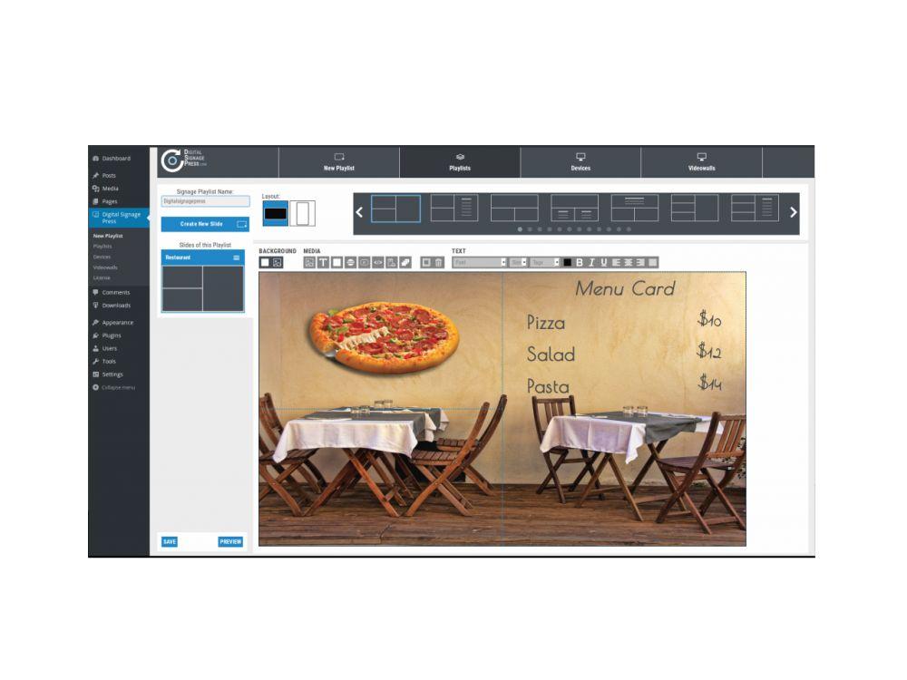 Erstellen und Verteilen von Digital Signage-Inhalten via WordPress Plugin (Screenshot: Digitalsignagepress)