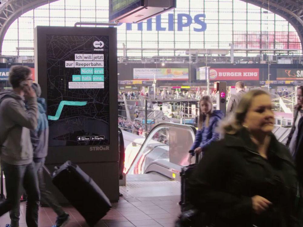 Für die DooH Kampagne von Moovel wurde die programmatische Plattform AOD von VivaKi und das Public Video Netzwerk von Ströer miteinander verknüpft (Foto: Ströer)