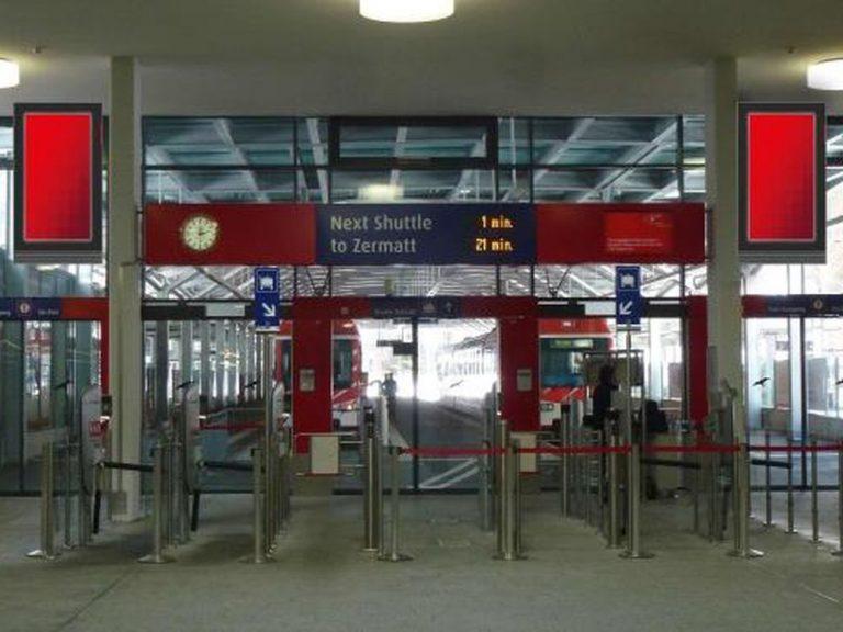 Geplante Screens am Terminal Täsch (Foto/ Rendering: APG|SGA)