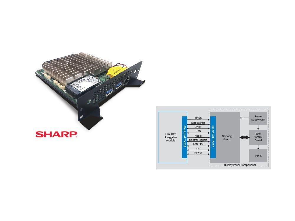 Kleiner Formfaktor, große Wirkung - Mini OPS, Modul und Schema (Foto und Grafik: Sharp / Intel) Intel