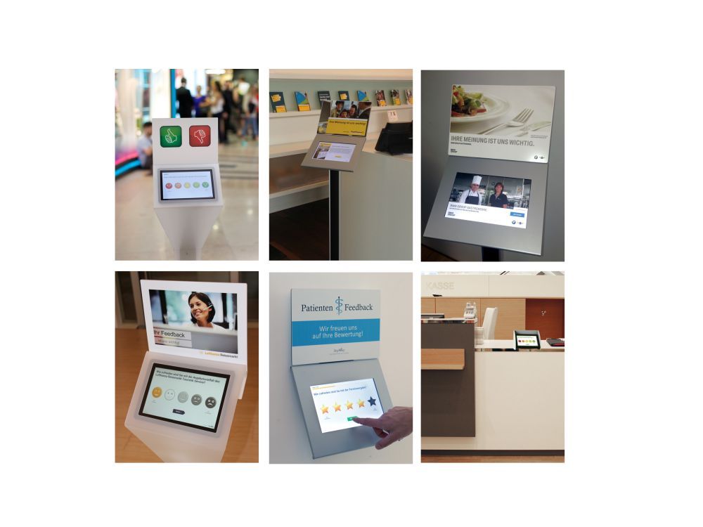 SayWay im Einsatz in Handel, Banking, Gastronomie, Airport, Arztpraxis (Fotos: SayWay)