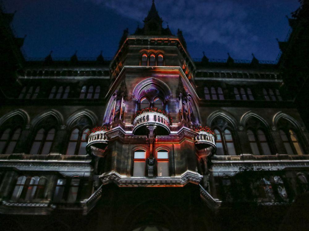 Via 3 D Mapping wurde das Wiener Rathaus zur Projektionsfläche (Foto: Gewista)
