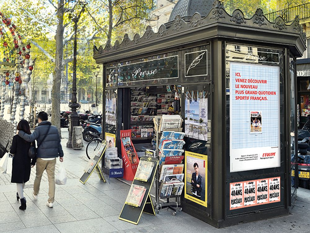 Aktuelles Mediakiosk in Paris - künftig 100 neue Kioske mit Touch Screens (Foto: JCDecaux)