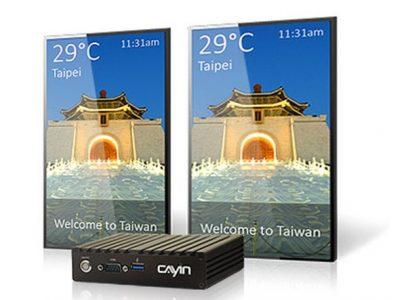 Vorne im Bild - neuer DS Player SMP-2100 (Foto: Cayin Technology)