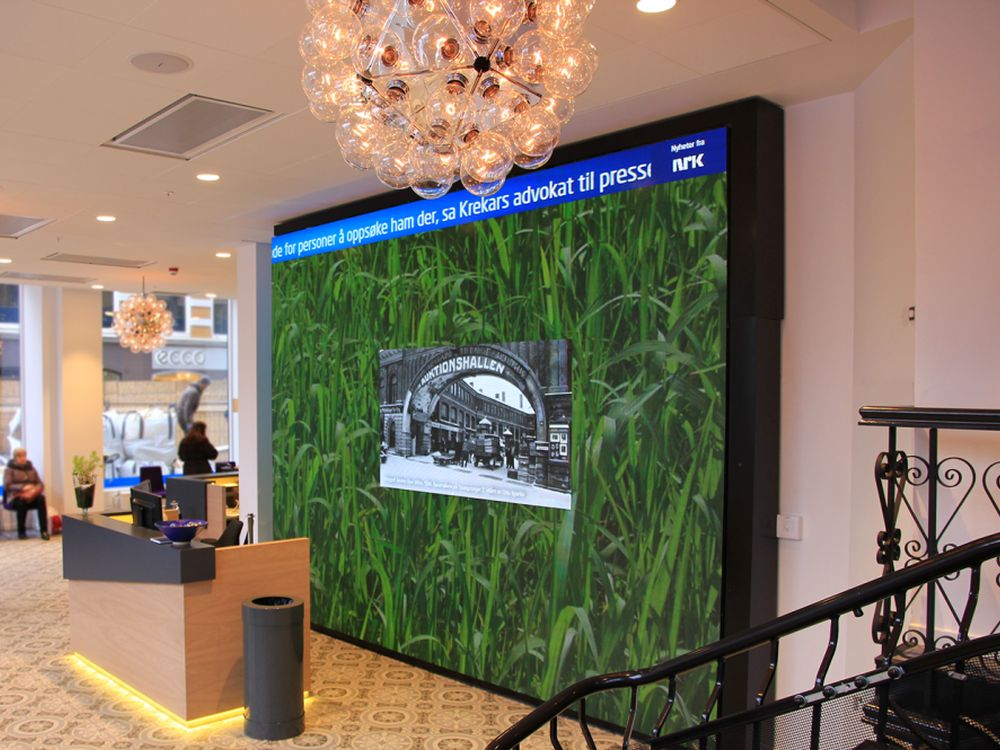 26 Quadratmeter LED Wall mit 4 mm Pixel Pitch bei Sparebank 1 (Foto: ProntoTV)