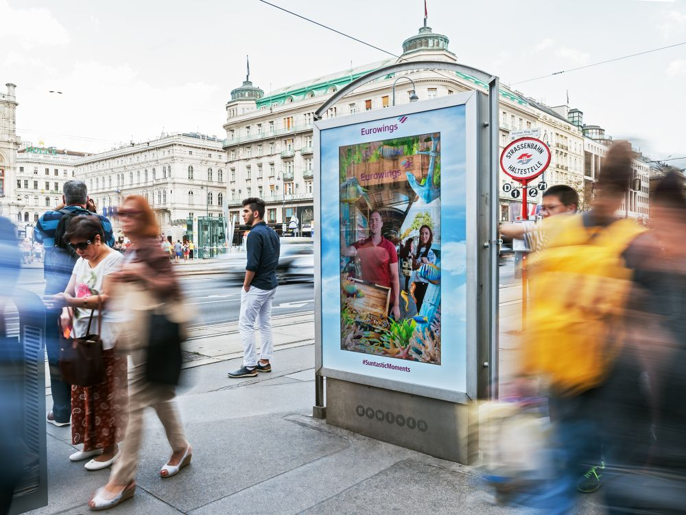 Das digitale Citylight zeigt die Fotos der Passanten in Loops (Foto: Gewista)