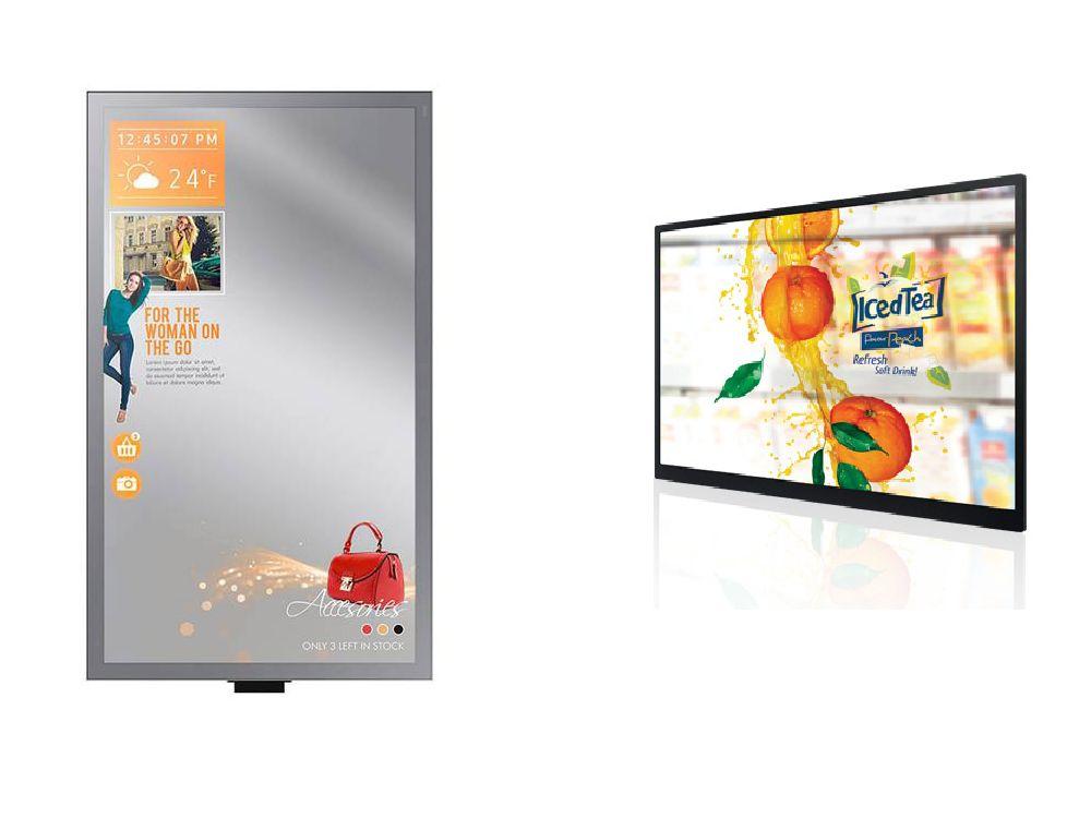 Von links nach rechts - Interaktiver Spiegel für Umkleidekabinen und transparenter Monitor (Fotos: NEXGEN smart instore)