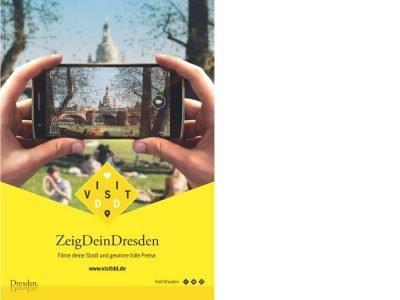 Links im Bild - das Plakatmotiv mit dem Wettbewerbsaufruf (Foto/ Grafik: Dresden Marketing GmbH)