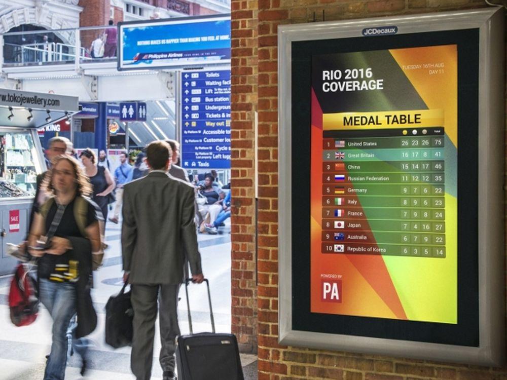 News zu Rio 2016 auf einem DooH Screen in Großbritannien (Foto: JCDecaux)
