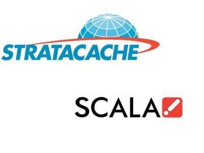 Seit Mitte August 2016 gehört Scala zu Stratacache (Grafik: invidis; Logos: Stratacache, Scala)