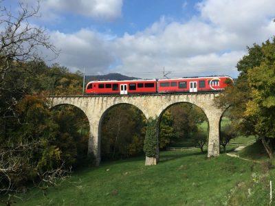 Zug der Compagnie du chemin de fer Nyon-Saint-Cerque-Morez im Kanton Waadt (Foto: passengertv)